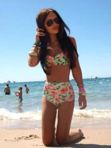 floral high wasted bathing suit