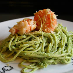 Creamy Pesto and shrimp