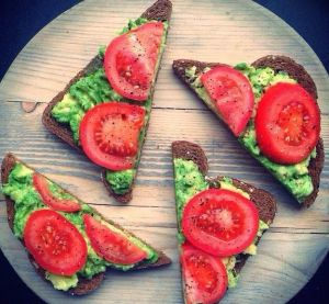 Avocado tomato on whole grain